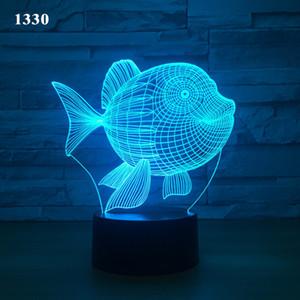 2020 nouveaux petits poissons créatif petite lampe de table 3D touche colorée ambiance de vacances à distance la lumière nuit petite lampe de table 3D