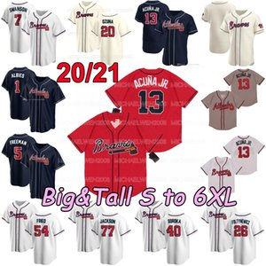 Big and Tall 20 21 S to 6XL Ronald Acuna Jr. Ozzie Albies Austin Riley Freddie Freeman Dansby Swanson Jerseys Joyce Markakis Foltynewicz