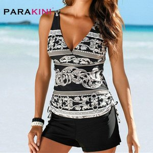 PARAKINI двух частей Купальники Женщины Плюс Размер Tankini Купальники с шортами V шеи Tankinis Set Swim Wear Black Print купальный костюм