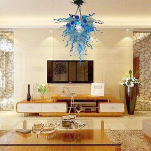 Free Shipping Modern Murano Glass Chandelier Blue Shade Color 28inch LED Hanging Chandelier Light for Living Room.