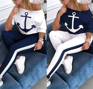 Dunhuang Net 2020 Explosion Model Printed Anchor Mid Sleeve Round Neck Sports Suit Female, Fashion Casual Slim