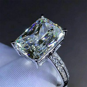 New Fashion Big Square Crystal Stone Women Wedding Bridal Ring Luxury Engagement Party Anniversary Best Gift Large Rings