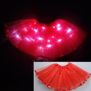 2020 new year Light LED Girl Kids Clothes Tutu Skirt Princess Party Tutus Tulle Pettiskirt Child Ballet Dance Christmas red