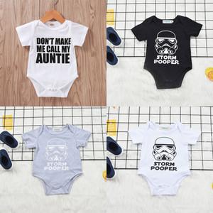 Детские лета малышей Rompers Письмо Cartoon Printed с коротким рукавом Romper младенца младенческой девушки вскользь Одежда для новорожденных Мальчик одежда 07