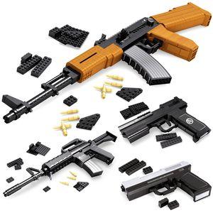 SWAT 건 블록 지원 Legoing 군사 벽돌을 조립 완구 모델 건물 키트 AK47 98K 무기 키즈 어린이 소년 선물 세트