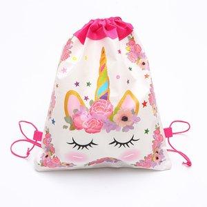 Cartoon Unicorn Drawstring Sacchetto non tessuto Sling Borse per bambini Zaini Unicorn sacchetto di scuola delle ragazze dei ragazzi del sacchetto del partito del regalo di compleanno