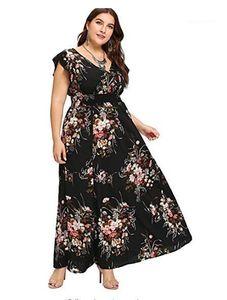Женщины конструктора с коротким рукавом высокой талией макси платья плюс размер цветочные печати V-образным вырезом Повседневные платья лета
