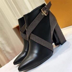 Matchmake baja botas para mujer de los zapatos de calidad superior del diseñador cargadores del tobillo lona del monograma clásico de la correa de las botas botines Tacones bloque gráfico