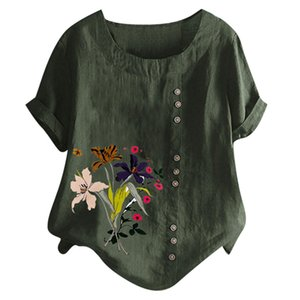 Feitong Women Casual Plus Size O-Neck Floral Printed Loose Button Tunic Shirt Blouse Tops Short Sleeves for female