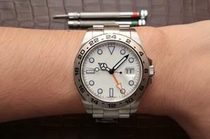 Gmt laranja ponteiro 42mm suíço ETA 2836 movimento 216570 Top qualidade estilo clássico 316L aço Mens automático relógios