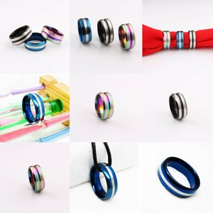 Men Women Fashion Charm Black Line Ring Stainless Steel Couple Wedding Party Rings Jewelry Size 7-11