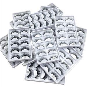 3D Mink Eyelashes Natural False Eyelashes Long Eyelash Extension Faux Fake Eye Lashes Makeup Tool 5Pairs set with clear cap