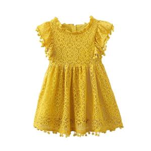 Ragazze Abiti I bambini delle neonate floreale sveglia della principessa del merletto del vestito dalla cavità di estate dei vestiti senza maniche Girl Dress Giallo 130