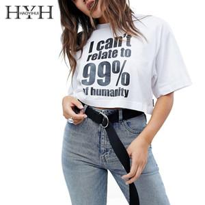 HYH Haoyihui 2019 여름 새로운 순수한 색깔 간단한 통근자 대조 편지 인쇄 짧은 t- 셔츠