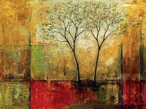 Lucentezza del mattino ho da Mike Klung - Colorful Abstract Green Leaves TELA Home Decor dipinto a mano HD Stampa della pittura a olio su tela di canapa 200318