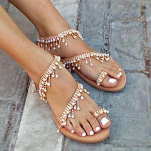 Hot Sale-Buzzyfuzzy femmes cuir Sandales plates Perler femme Bohimia plage Sandales