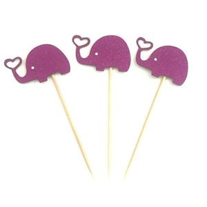 10pcs Belle Elephant Cupcake Toppers cuisson Plug-in habiller gâteau d'anniversaire d'éléphant Décor de soirée de mariage Fournitures Décoration DBC DH1213