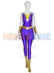 2019 película Shazam Darla Dudley Cosplay Mary Marvel Suit Shazam Family Cosplay Vestido estampado Capitán Marvel Jumpsuit