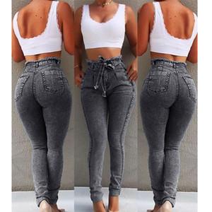 O envio gratuito de cintura Jeans alta Mulheres Streetwear Bandage Denim Plus Size Jeans Femme lápis calças mulher magro