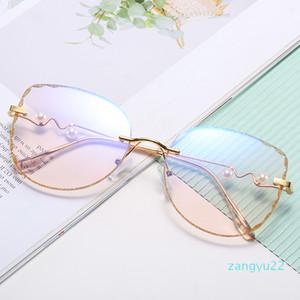 Wholesale2020 плоского Lens женщины мод солнцезащитных очки анти синяя близорукость сверхлегкая очковая оправа личность золотого обрез мода Оправа