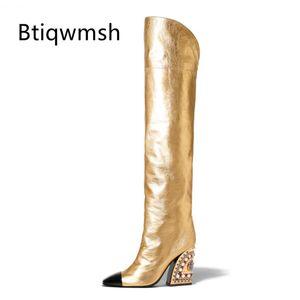 2019 más nueva del dedo del pie de oro de alta del muslo botas de las mujeres del punto mixto Grano del Rhinestone del color del tacón alto bota Lady pista mujer de los zapatos de arranque Knight