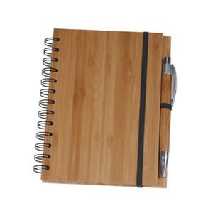 나무 대나무 커버 노트북 나선형 메모장 펜 (70) 시트 종이 무료 DHL 489을 지어 재활용