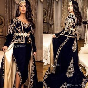 2020 Marinha das Trevas Sexy Árabe Frente Dividir Vestidos Lace V Neck Pavimento Comprimento mangas compridas Prom Dresses Mãe Vestido formal do partido do vestido