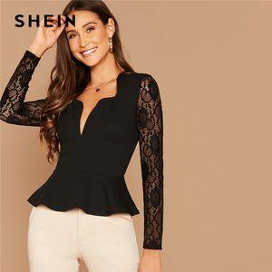 Notch Shein Preto Neck Sheer Lace luva Peplum Top Mulheres Autumn Sólidos Senhoras elegantes Escritório Slim Fit Ruffle Blusas