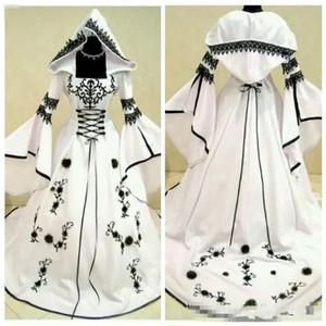 2020 Özel Bir Çizgi Siyah Dantel Nakış Beyaz Saten Gotik Gelinlik ile Şapka Gelinlik Çiçek Adorned vestidos de Mariee