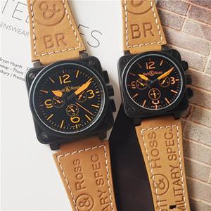 BR 시계 명품 애호가들은 기계식 시계 다기능 스톱워치 남자는 45mm 여성 37mm 기계 평방 가죽 손목 캐주얼 시계를보고