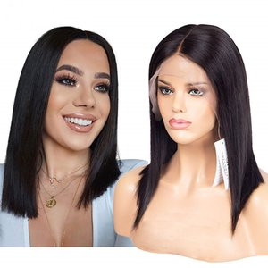Straight 100% Human Hair women Shorts Bob Wig for Black Women Cheap Natural Color Brazilian Remy Lace Front Human Hair Wigs