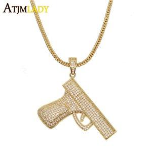 Hip Hop Cadeia Hippie Armas colar do encanto da pistola pingentes colares completa CZ Bling Liga cubana por Homens Jóias Nova