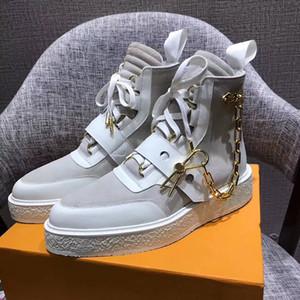 2019 Fashion Luxury Designer Women Shoes Winter Boots Louisv Mens Ladies Girls Brand Silk Cowhide Leather High Top Womens Flat Ankle Booties