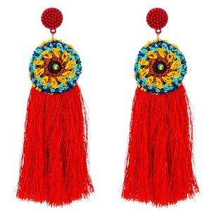 Ethnische Vintage Gelb Lange Quaste Creolen Weibliche Maxi baumwolle seidenfaden Bohe Große Blume Perlen Ohrringe Für Frauen Schmuck Geschenk