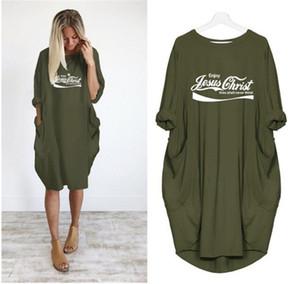 Diseñador para mujer de impresión de la letra las camisetas de la moda Color Natural largas de la manga ocasionales del tamaño medio de la manga suelta más Tees