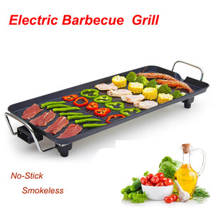 Electric Barbecue Grill Pan Multi-function No-Stick Smokeless Barbecue baking tray 1500W Adjustable Temperature Indoor BBQ Tool