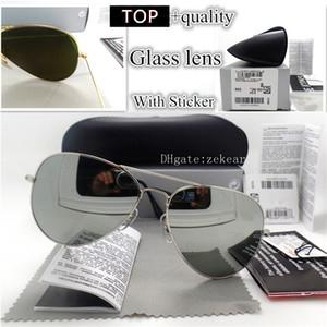 Calidad superior de lujo templado lente de cristal de las gafas de los hombres UV400 marca de gafas placa de espejo de la vendimia conductor Gafas de piloto con la caja Caso