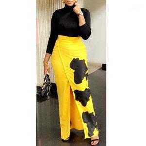 Vestido de las mujeres del color del contraste vestidos de las señoras ocasionales de fiesta atractivo del resorte de la ropa de impresión sólido femenino