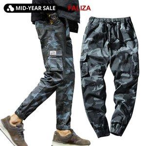 FALIZA New Pants Mens Spring Joggings Camo Cargo Pants Men Jogger Harem camouflage Streetwear poches Pantalons pour hommes 7XL T200706