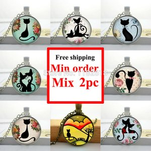 Art Glass gros Cabochon Collier Chaton Chat Collier Shabby Chic pendentif rond chat filles Cabochon en verre Collier HZ1