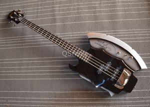 RARE Xort Gene Simmons AX Подпись гитара черный / Щепка 4 Strings электрического бас гитара Precision Bass Neck Pickup, Chrome Мост Обложка