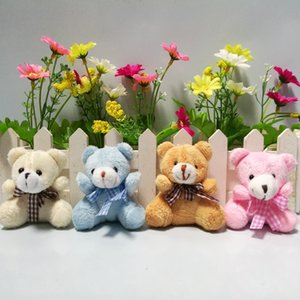 """20pcs lot 5.5cm(2.2"""") Plush Animals Miniature Tiny Small Sitting Teddy Bear With Grid Bow Pink Brown Beige Blue Doll House"""