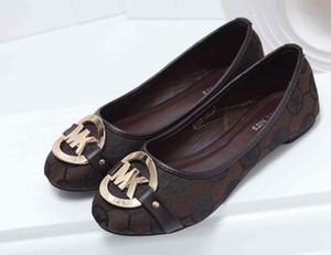 Mulher grandes sapatos de couro genuíno e de mola plana e estação do outono metal aperta luxo mulheres sapatos mulheres calcanhar Plano designers de sapatos único