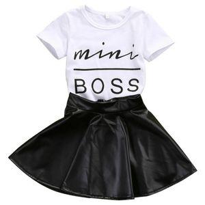 Conjunto de ropa para niñas bebés Niños Miss Boss blanco Impreso camiseta de algodón con falda de cuero PU 2 piezas Outfit Ropa para niñas pequeñas