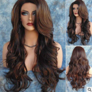 New fashion wig lady long curly hair dyed rose net wig set manufacturer wholesale