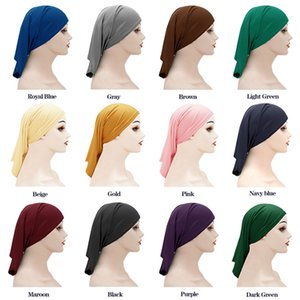 Muslim Women Headscarf Caps Bandana Beanie Islamic Turban Head Wrap Band Hat Arab Caps Lady Bonnet