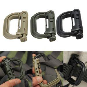 Anexar Plasctic manilha mosquetão D-anel clip Molle Webbing Mochila fivela de pressão Bloqueio Grimlock campismo caminhada na montanha subir externas