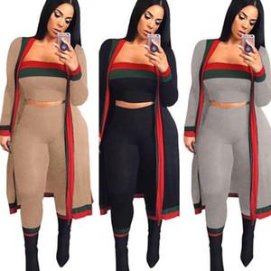 Las mujeres de rayas de 3 piezas conjunto Sexy Outwear largo capa 2 piezas Mini sin tirantes superior y pantalones conjunto general más el tamaño de ropa de primavera S-3XL