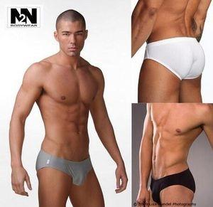 Nouvelle amende N2N taille basse sexy couleur unie doux et confortable slips de soie pour hommes lait sous-vêtements 3piece / lot