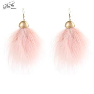 Badu romântico rosa de penas de avestruz Brinco Adorável Dangle meninas moda jóias Namorada Light Weight Brincos Pena presente